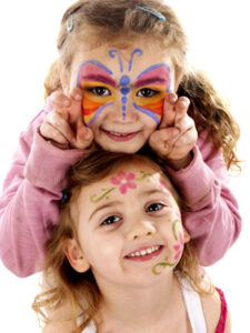 Sisters with Painted Face. Model Released